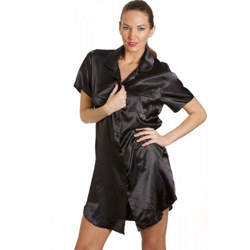 CAMILLE Damen Knielanges Satin-Nachthemd 38