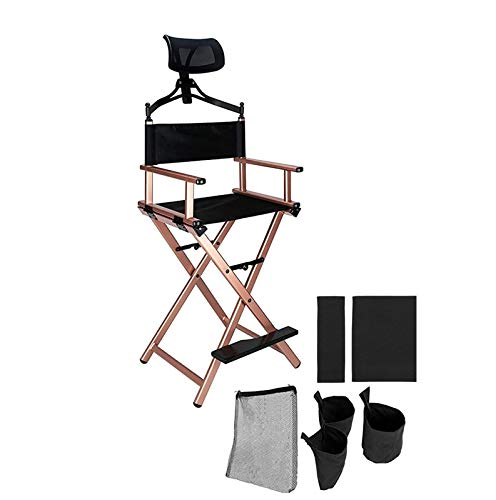 Casual Home Director Chair Directors Chair, Bar Height Collapsible Portable Aluminum Frame Foldable Tall Makeup Artist Chair with Head Rest, Side Cup Holder, Side Storage Bag, Replace seat cover Tall