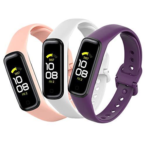 Mijobs [3 Stück Kompatibel mit Samsung Galaxy Fit 2 Armband, wasserdicht schweißfest atmungsaktiv Samsung Galaxy Fit 2 Sport Ersatzarmband Silikon Uhrenarmband