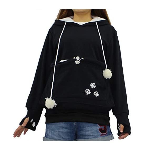 Sweatshirt womens kyleon kangaroo pet dog cat holder carrier coat pouch large pocket hoodie top 1 🐱fun pet hoodie - the large pouch of this women shirt is good for holding a small dog or cat anywhere. It is not only a ideal tool for helping you to carry small pets like chihuahua or kittens around and socialize, but also helping to keep your hands free! 🐱special design - cat ears on the hoodie; pom-poms balls draw strings; big pocket for pokemon plushies and snacks; front pocket for cell phone and hands; cat paw sleeves with thumb holes material 🐱comfort material- 65% polyester,35% cotton. Soft, elasticity, stretchy, comfortable, breathable, skin-friendly, stretchy and lightweight,🐱convenience washing - the women shirt is humanized designed because the inside pocket liner can be removed and washed separately. 🐱perfect gift - makes a fun halloween costume idea. The women hoodie is a little thin that it is very suitable to wear all year round. In winter, it's a good idea to wear with t-shirt underneath. Great gift for a cat lover and cat who is spoiled and christmas. Snuggly. 🐱occasion:suitable for casual,party, work, date, school, sports, vacation, street wear or casual everyday wear, casual style, relaxed fit, pullover hoodie sweatshirt sweater for women, ladies, juniors, teen girls.
