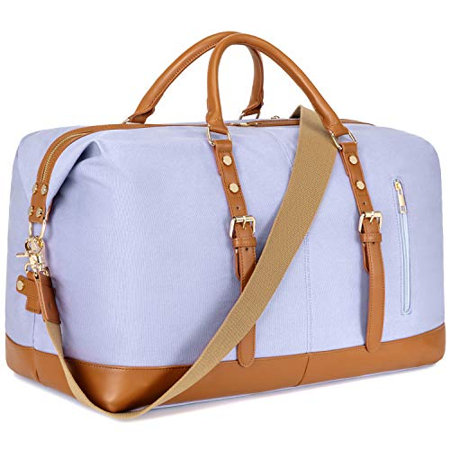 CAMTOP Weekender Bag Women Ladies Travel Duffle Canvas Overnight Tote with PU Leather Trim (832-Lavender)