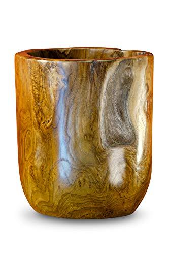 Kinaree Teakholz Übertopf - 24 cm Echtholz Blumentopf aus Wurzelholz für Wohnzimmer, Balkon, Terrasse oder Garten - Rustikaler Pflanztopf aus Holz