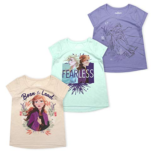 Disney 3 Pack Frozen II T Shirts for Girls and Toddlers with Princess Elsa and Anna, Oatmeal - Purple - Light Blue, 4