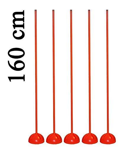 Set di 5 aste da slalom con piedistallo a X, asta 80 cm, colore: arancione