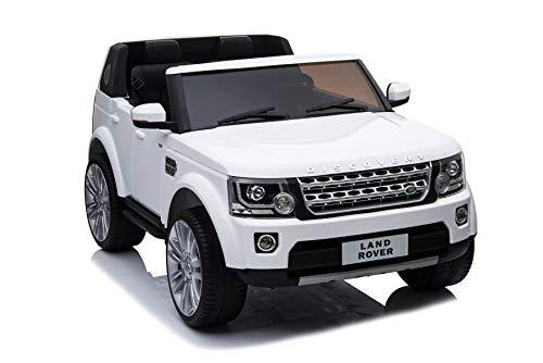 ES-TOYS Kinderfahrzeug - Elektro Auto Land Rover Discovery 4 Doppelsitzer - lizenziert - 12V7AH, 2 Motoren- 2,4Ghz Fernsteuerung, MP3, Ledersitz+Eva (Weiss)