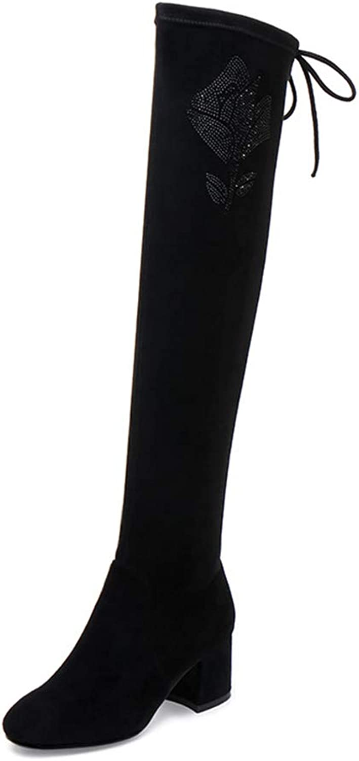 Women's Long Boots, Fall Winter Elastic Thick Heel Slim High Boots Ladies Suede Thigh High Over The Knee Fashion Boots (color   Black, Size   36)