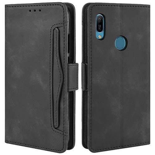 HualuBro Handyhülle für Huawei Y6s Hülle Leder, Flip Hülle Cover Stoßfest Klapphülle Handytasche Schutzhülle für Huawei Y6s Tasche (Schwarz)