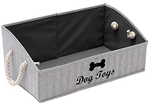 Geyecete Large Dog Toys Storage Bins - Foldable Fabric Trapezoid Organizer Boxes with Cotton Handle,...