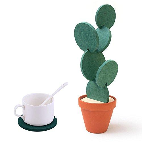 WCOCOW Coaster Conjuntos con Soporte, de 6 Piezas de Bricolaje Verde Cactus en Forma de árbol Conjunto Posavasos para Beber, Regalo y decoración Home (6Set-Green)
