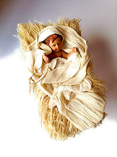 EDG - Baby Nativity Scene in Fabric, Straw and Wood cm. 11 x 18 x 11.
