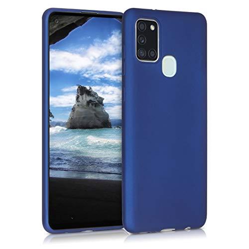 kwmobile Hülle kompatibel mit Samsung Galaxy A21s - Handy Hülle Metallic Blau