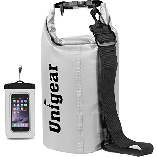 Unigear Dry Bag Waterproof, Floating and Lightweight Bags for Kayaking, Boating, Fishing, Swimming and Camping with Waterproof Phone Case (White, 5L)