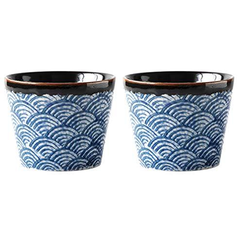 Hemoton 2 Stücke Keramik Japanische Sake Set 200ml Sake Tassen Becher Chinesische Teetasse Keramiktasse Porzellan Teebecher Traditionelle Teeschalen für Heiße oder Kalte Sake Kungfu Tee