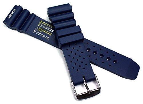 20mm blau Kautschuk Silikon Professionelles Armband Taucher Diver Uhrenarmband mit Wellen