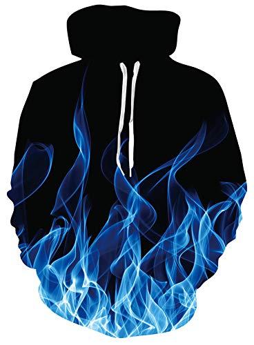 Loveternal Fiamma Felpe Supreme Unisex 3D Hoodie Divertente Design Stampato con Cappuccio Pullover Manica Lunga Fire Felpa per Ragazze Giovani Ragazzi M