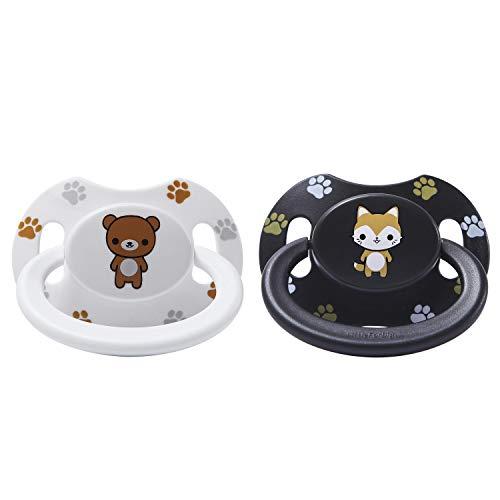 LittleForBig Erwachsene Größe Schnuller Dummy für ADULT BABY ABDL Gedruckte Set-Schwarz Fuchs und Weiß Teddybär