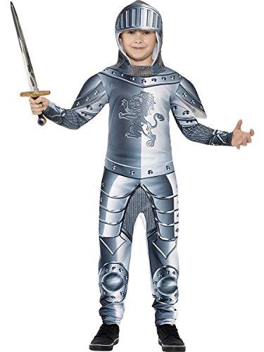 Smiffys Kinder Deluxe Ritter Kostüm, Jumpsuit und Kapuze, Größe: S, 43168