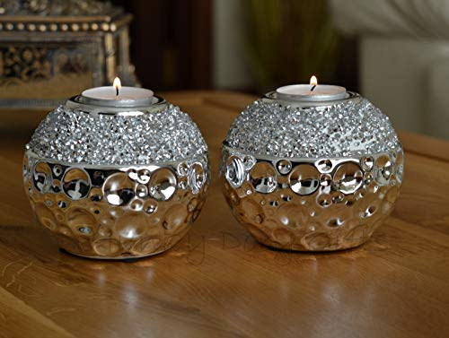Pair of Ceramic Tea Light Silver Diamante Sparkle Candle Holders Decorative Round Ornaments Sphere Table Centerpiece Decoration Candlestick Pots Home Accessories