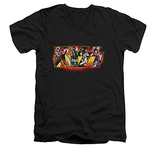 Kiss - Männer mit V-Ausschnitt T-Shirt Bühnen Logo, X-Large, Black