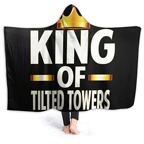 King of Tilted Plush Blanket Impreso en 3D Big Cabin Travel Manta con Capucha Capa Invierno Cálido Sherpa Throw Blanket para Office Cape para Campamento al Aire Libre 50x60in