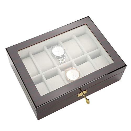 XZJJZ Box-joyería de Madera exhibición del Reloj Caso del almacenaje del Pecho con la Tapa de Cristal Lleva a Cabo con Las Almohadillas Ajustables Suave y de Alta