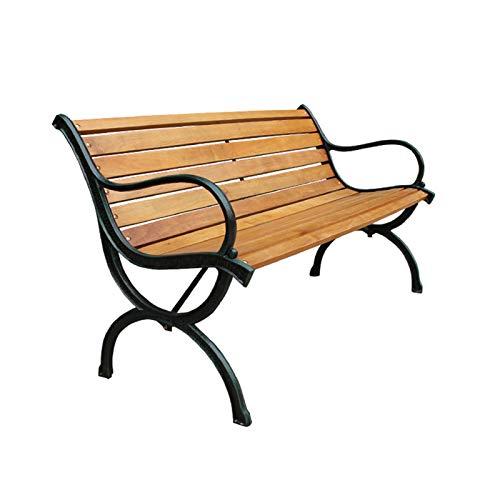 Terraza exterior Banco de jardín Banco de parque,Silla de porche de 3 plazas resistente la intemperie con reposabrazos y respaldo,Estructura de hierro fundido y asientos con listones de madera maciz