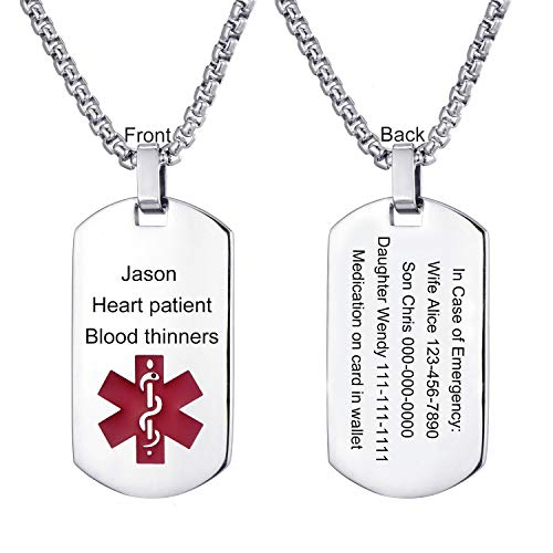 Buy Bargain LMXXV Customize Horizontal Engraved Medical Alert ID 316L Stainless Steel Dog Tag Pendan...