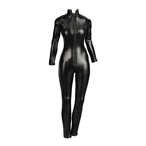 Gazechimp 1:6 Weibliche Figuren Kunstleder Overall Jumpsuit Kleidung mit Reißverschluss Schwarz 24cm
