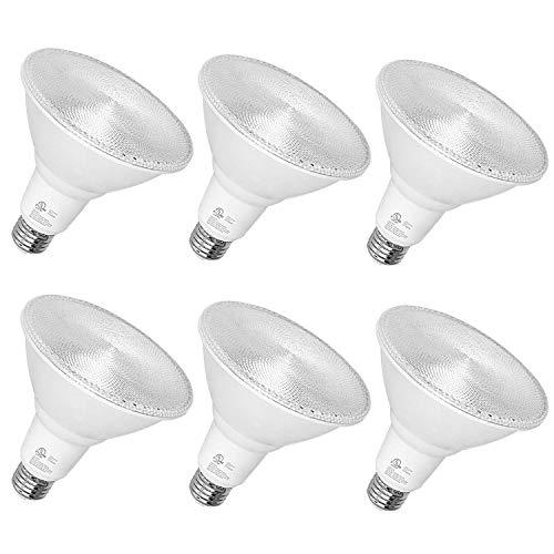 Outdoor Led Flood Light, Waterproof PAR38 LED Bulb, Dimmable, 15W=150W, 5000K Daylight, 1600lm, E26 Base, UL Listed (6 Pack)