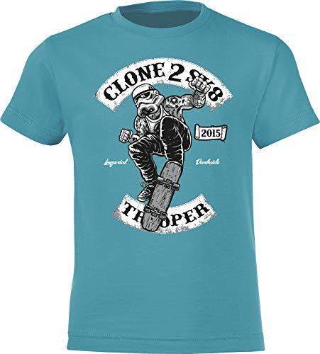 Kinder Skateboard T-Shirt: Skate Trooper - Skaten Skater Skaters Board - Shirt für Jungen Junge & Mädchen Geschenk-Idee zum Geburtstag für Kind-er Birthday Sport (Blau 122/128)