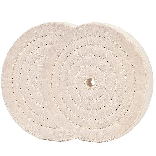 200mm (70 Lagen) Spiralgenähte Polierscheibe Spiegelpolierscheibe mit 16mmBohrung für Tischschleifwerkzeuge 2 Stücke