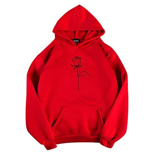 Shopler Sudadera de mujer Tops otoño rosas estampado graffiti manga larga O-cuello casual adolescente sudaderas, rosso, XL