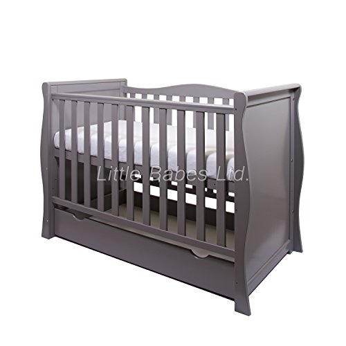 New Grey Sleigh Cot with Drawer/Sleigh Mini Cot Bed + ECO HD Airflow Nursery Fibre Mattress 120x60x10cm - Standard Cot Converts to Junior Bed/Toddler Bed