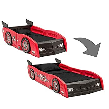 Delta Children Grand Prix Race Car Toddler & Twin Bed - Made in USA Red