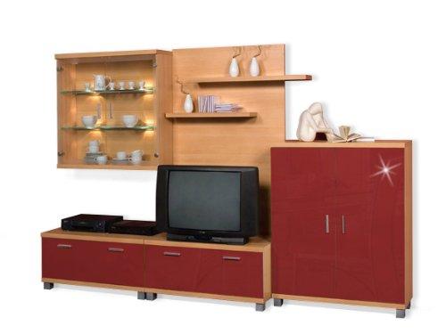 Wohnwand Anbaukombination Farbe: Buche / Rot