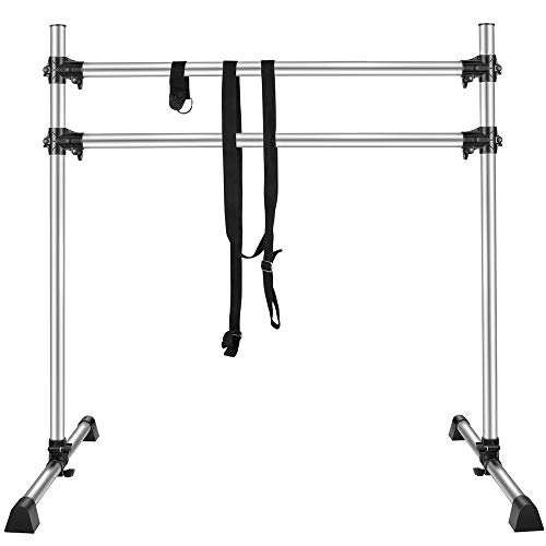 TOPQSC Professional Aluminum Double Ballet Barre 4 FT,Adjustable Portable and Light Weight Dance bar