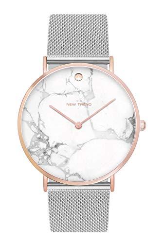 New Trend Unisex Armbanduhr Silber Marmor Rosegold Damen-Uhr, Herren-Uhr, Quartz-Uhr, Analog-Uhr, Nylon-Armband, Edelstahl-Metall-Armband, Textil-Armband, Stoff-Armband, NATO-Armband (Silber)