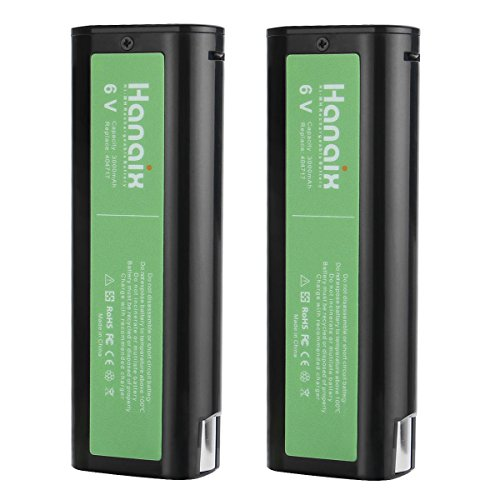 Hanaix 2 Pack 404717 Paslode Battery Ni-MH 3000mAh 6V Paslode Replacement Battery for 900420 900600 902000 B20544E BCPAS-404717 404400 405176 900400 901000 B20720 CF-325 IM200 F18 IM250 IM250A IM350A