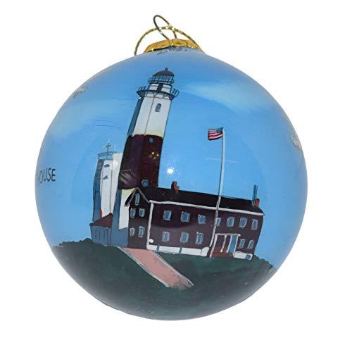 Art Studio Company Hand Painted Glass Christmas Ornament - Montauk Point Lighthouse
