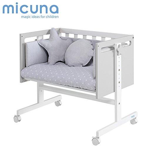 Micuna You & Me - Minicuna colecho, unisex, color blanco y gris