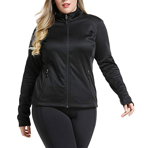 Women's Plus Size Sports Track Jacket Full Zip Warm Yoga Workout Jacket 3XL