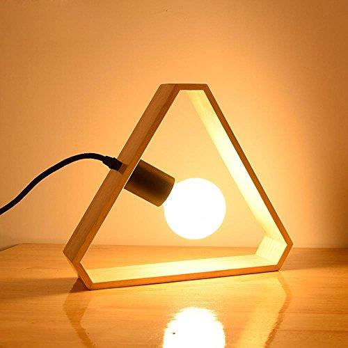 OOFWY LED E27 6W lampe Morden Creative Style de tableau pour chambre à coucher salon salle à manger décoration Triangle en bois Table Dimmable lampes lumière chaude, dimming switch