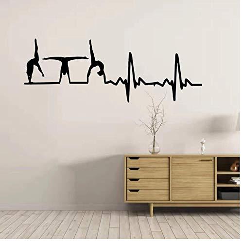 Gimnasia latido mi corazón late para gimnasia svg Me encanta la gimnasia SVG Me encanta la gimnasia pegatinas de pared calcomanías de arte CL10 57x24cm