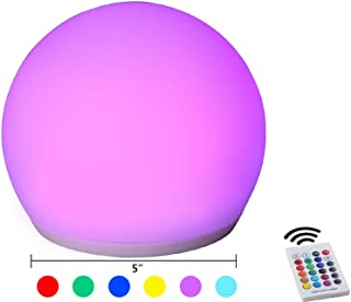 YESIE 5-Inch Cordless LED Ball Night Light, 16 RGB Colors LED Kids Lantern with Folded Handle and Remote Control, Rechargeable LED Orb Light as Bedside Lamp