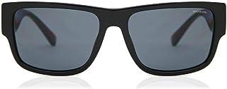 Versace VE 4369 GB1/81 Black Plastic Rectangle Sunglasses Grey Polarized Lens