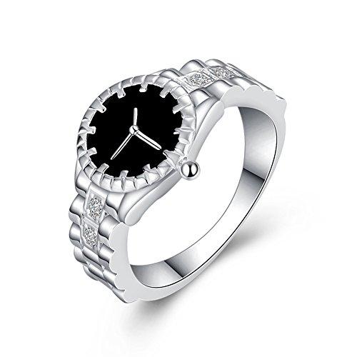 TREESTAR - Anillo creativo con diamantes de imitación para novia, el mejor regalo elegante para mujer, tamaño T, 1 pieza (color blanco)