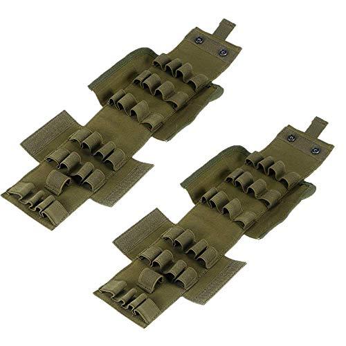 2 unidades Molle 25 rondas para escopeta plegable para revistas, escopeta de carga (verde)