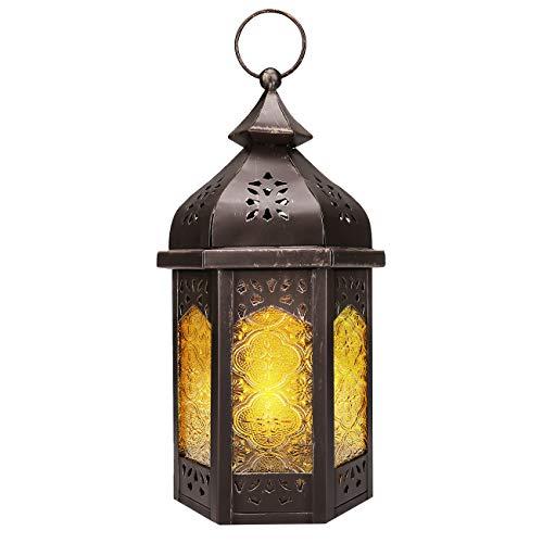 Lewondr Candelero Marruecos de Cobre Rojo, Lámpara de Vidrio Amarillo Portátil Lámpara Colgante Linterna de Viento Ligero para Hogar, Decoración, Dormitorio, Salón, Adorno - Amarillo + Cobre Rojo