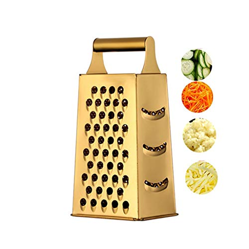 QIBORUN Cheese Grater Vegetable Slicer Stainless Steel with 4 Sides, 9.2 Inches Height Large Box Grater Best for Shredded Parmesan Cheese, Vegetables, Ginger and Fruits -Gold