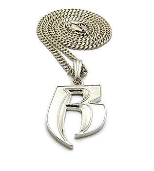 Crescendo SJ INC New  R  Ruff Ryders Pendant & 24  Box/Cuban/Rope Chain Hip HOP Necklace - XSP324  Silver/Cuban Chain